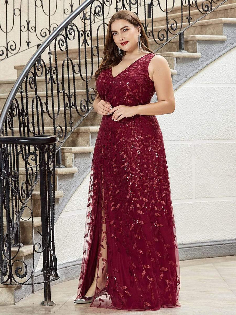 Plus Size Women'S V-Neck Embroidery Side Split Evening Party Maxi Dress-Burgundy 3