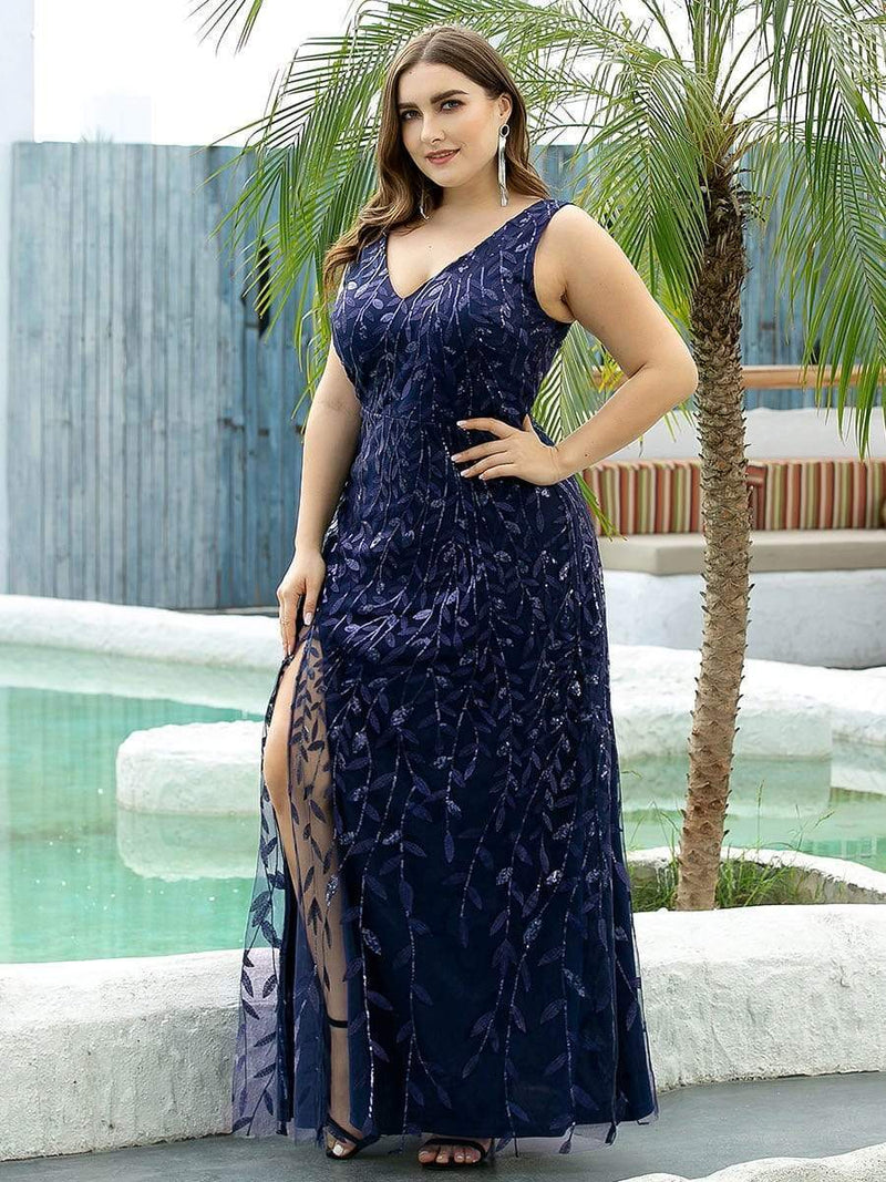Plus Size Women'S V-Neck Embroidery Side Split Evening Party Maxi Dress-Navy Blue 3