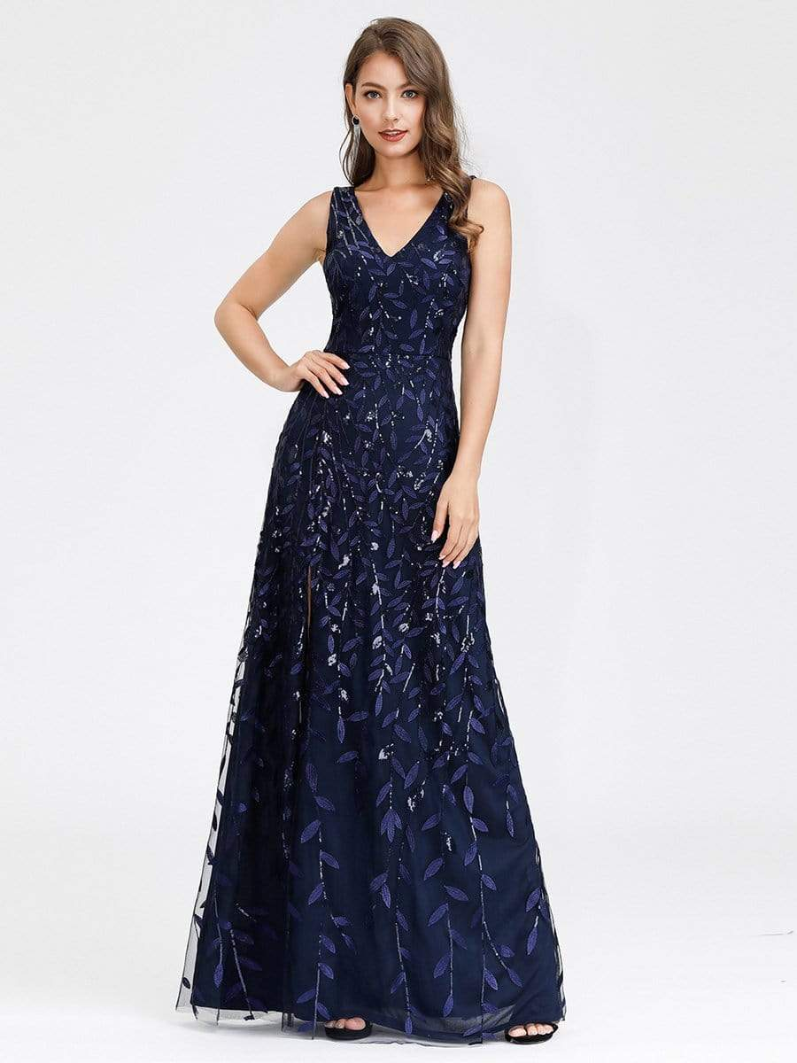 Womens Chiffon Sequins Lace Prom Gown Side Slit Wedding Cocktail Maxi Dresses