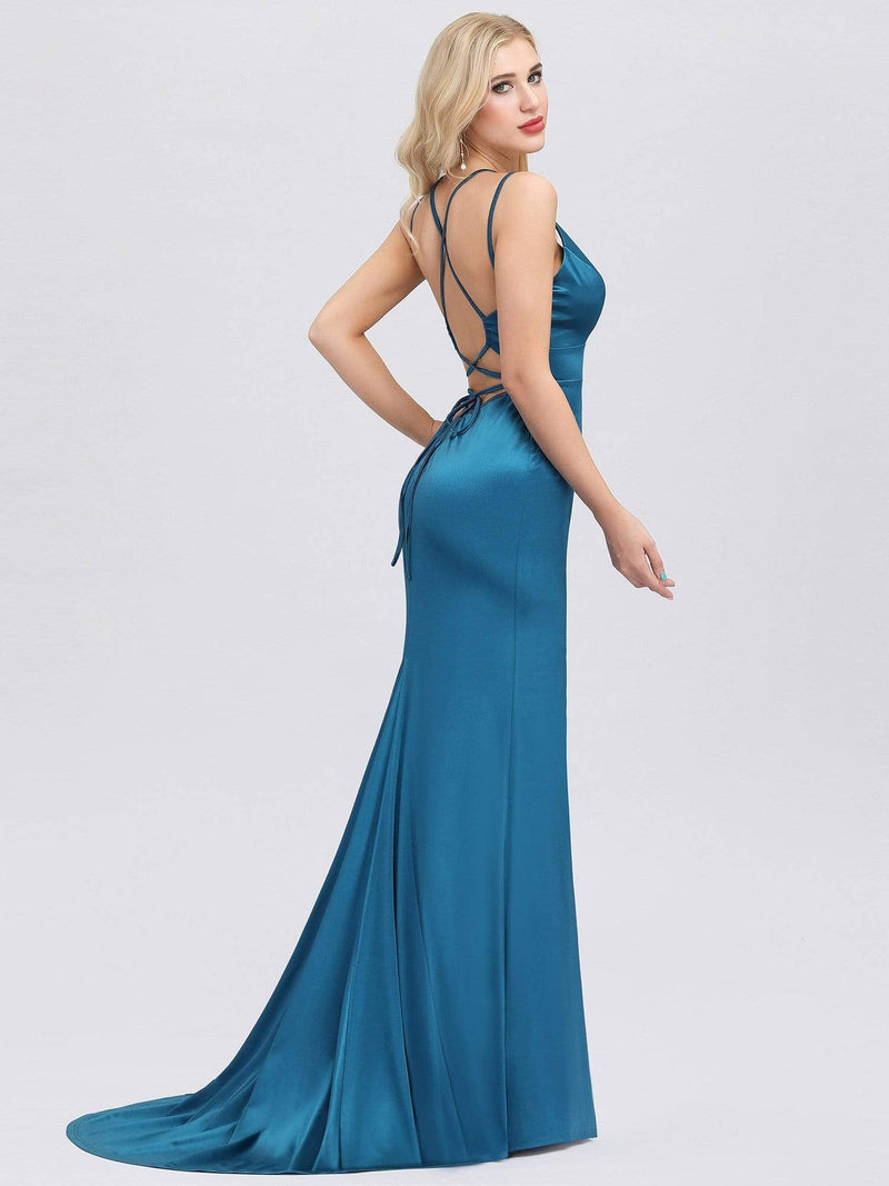 Sexy Backless Deep V-Neck Mermaid Dress With Spaghetti Straps-Teal 2