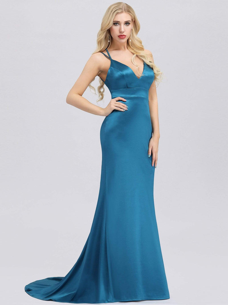Sexy Backless Deep V-Neck Mermaid Dress With Spaghetti Straps-Teal 3