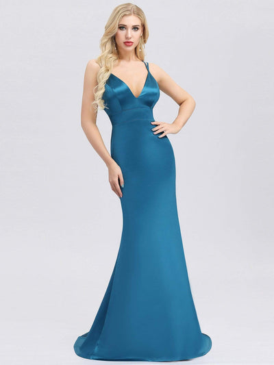 Sexy Backless Deep V-Neck Mermaid Dress with Spaghetti Straps