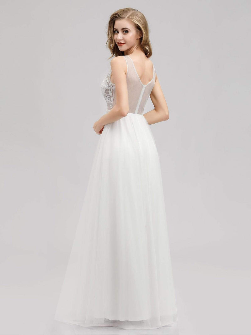 V Neck Minimalist Tulle Wedding Dress-Cream 2