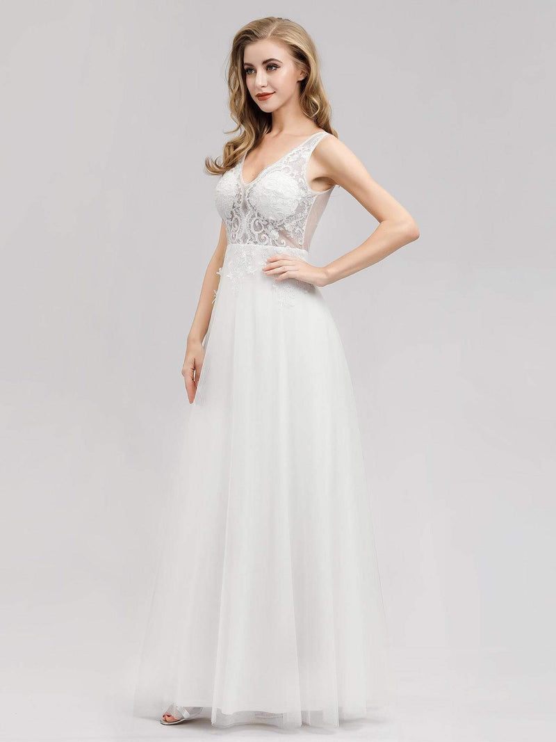 V Neck Minimalist Tulle Wedding Dress-Cream 4