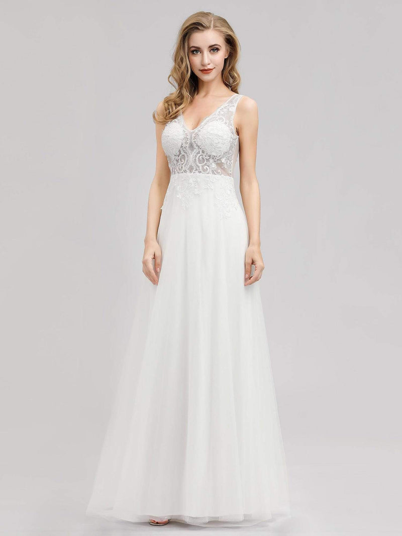 V Neck Minimalist Tulle Wedding Dress-Cream 1