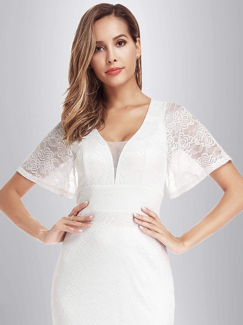 Ever-Pretty Fishtail Lace Wedding Dresses With Cap Sleeve-White 4