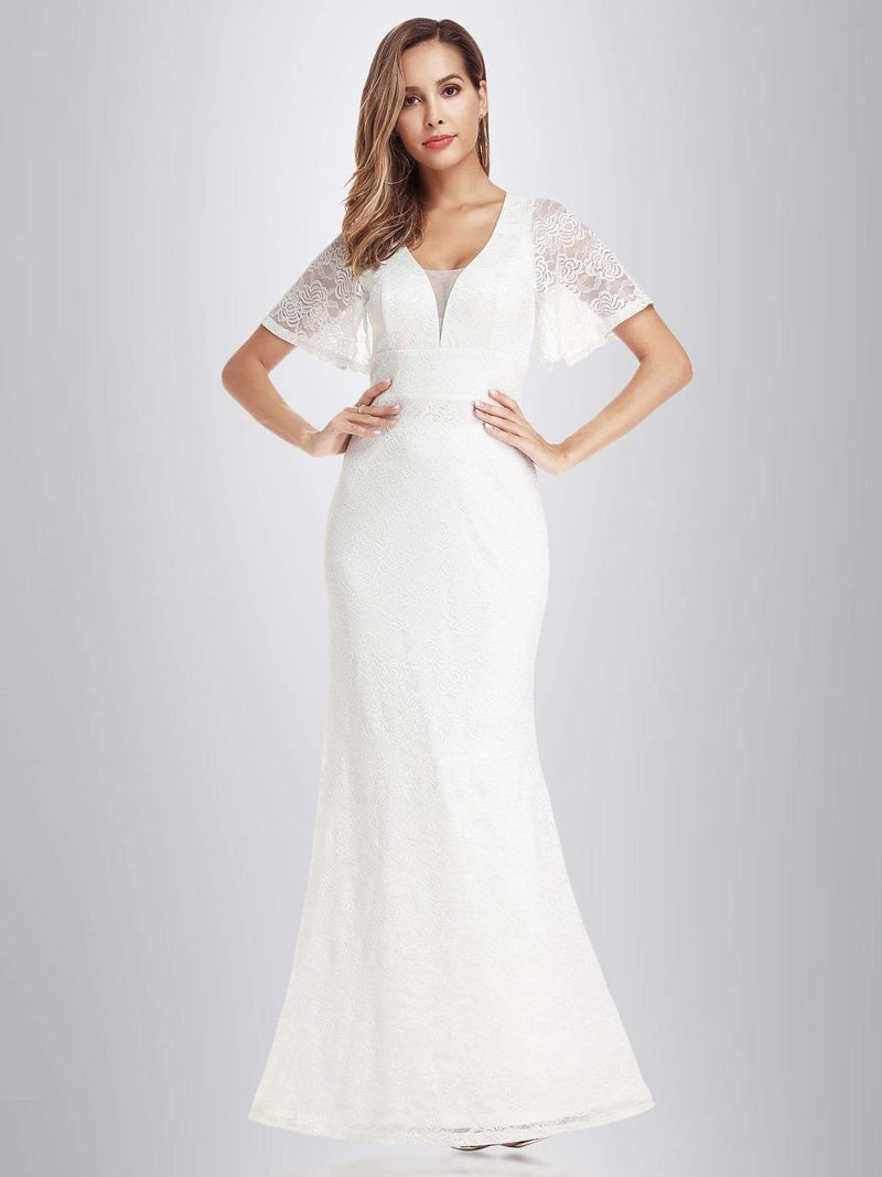 Ever-Pretty Fishtail Lace Wedding Dresses With Cap Sleeve-White 2
