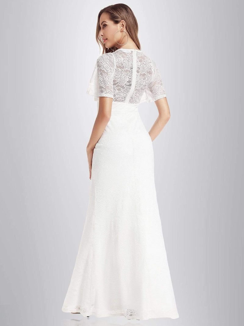 Ever-Pretty Fishtail Lace Wedding Dresses With Cap Sleeve-White 5