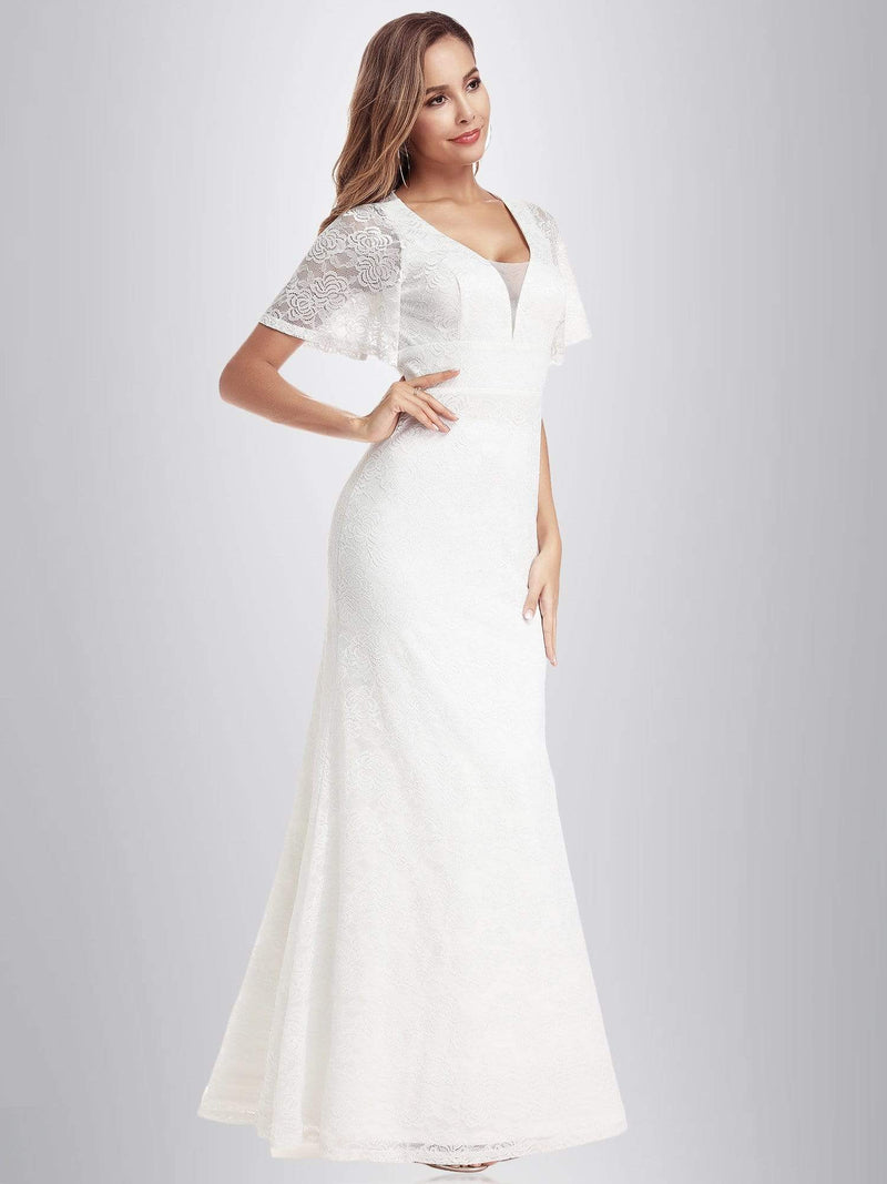 Ever-Pretty Fishtail Lace Wedding Dresses With Cap Sleeve-White 1