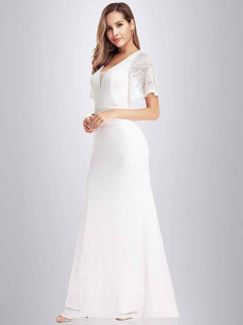 Ever-Pretty Fishtail Lace Wedding Dresses With Cap Sleeve-White 3