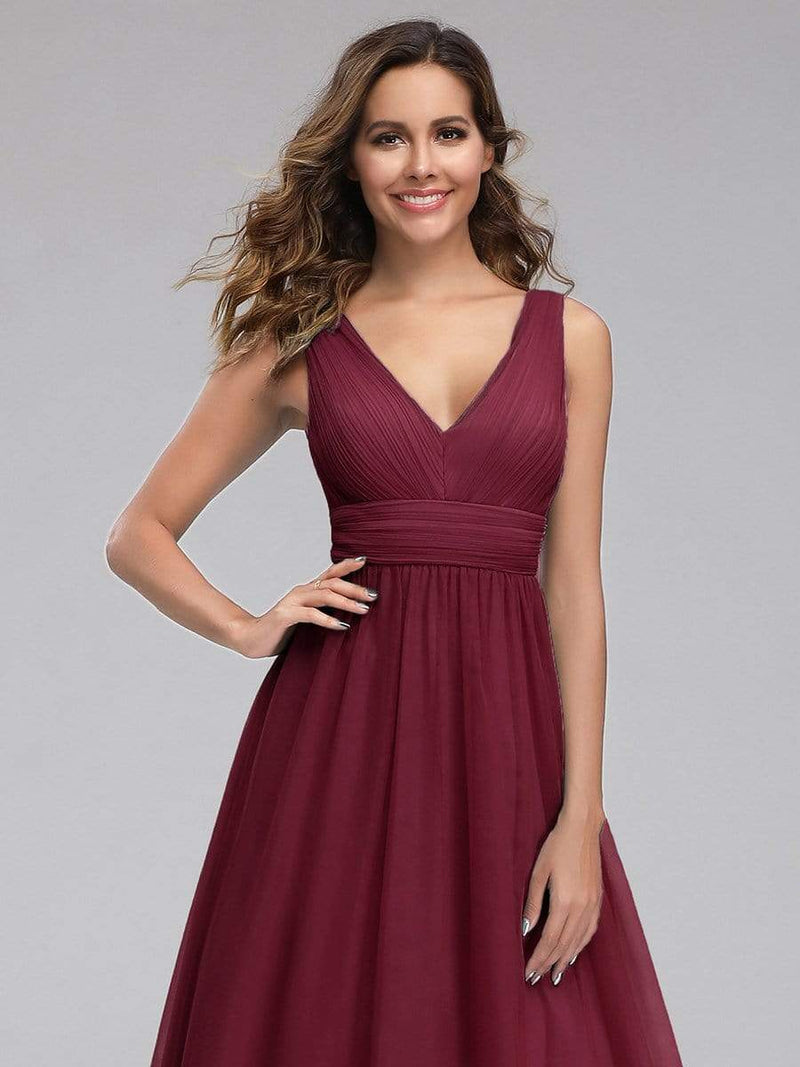 Ever-Pretty Women'S A-Line V-Neck Floor-Length Bridesmaid Dresses-Burgundy 5
