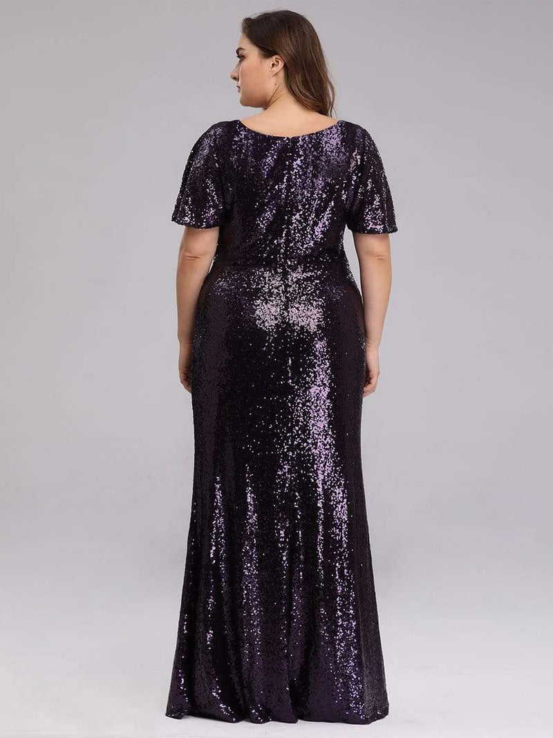 Women'S Plus Size Sequin Dress Mermaid Maxi Dress-Dark Purple 2