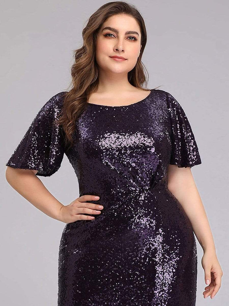 Women'S Plus Size Sequin Dress Mermaid Maxi Dress-Dark Purple 5