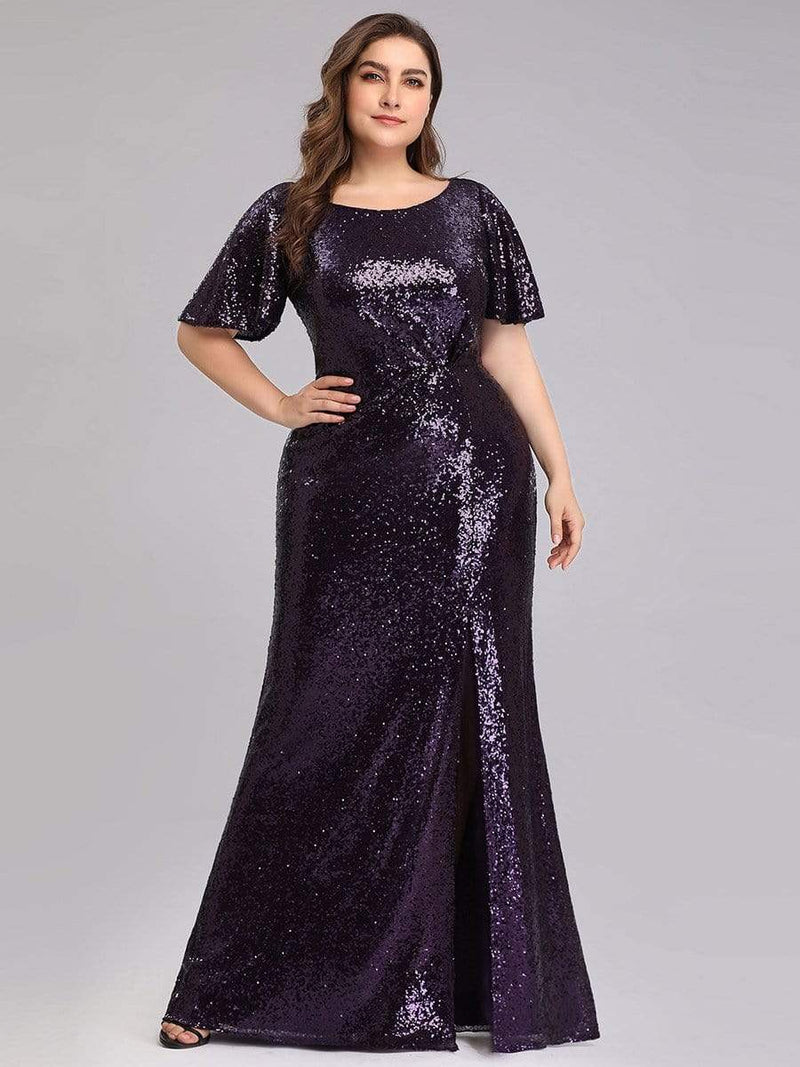 Women'S Plus Size Sequin Dress Mermaid Maxi Dress-Dark Purple 1