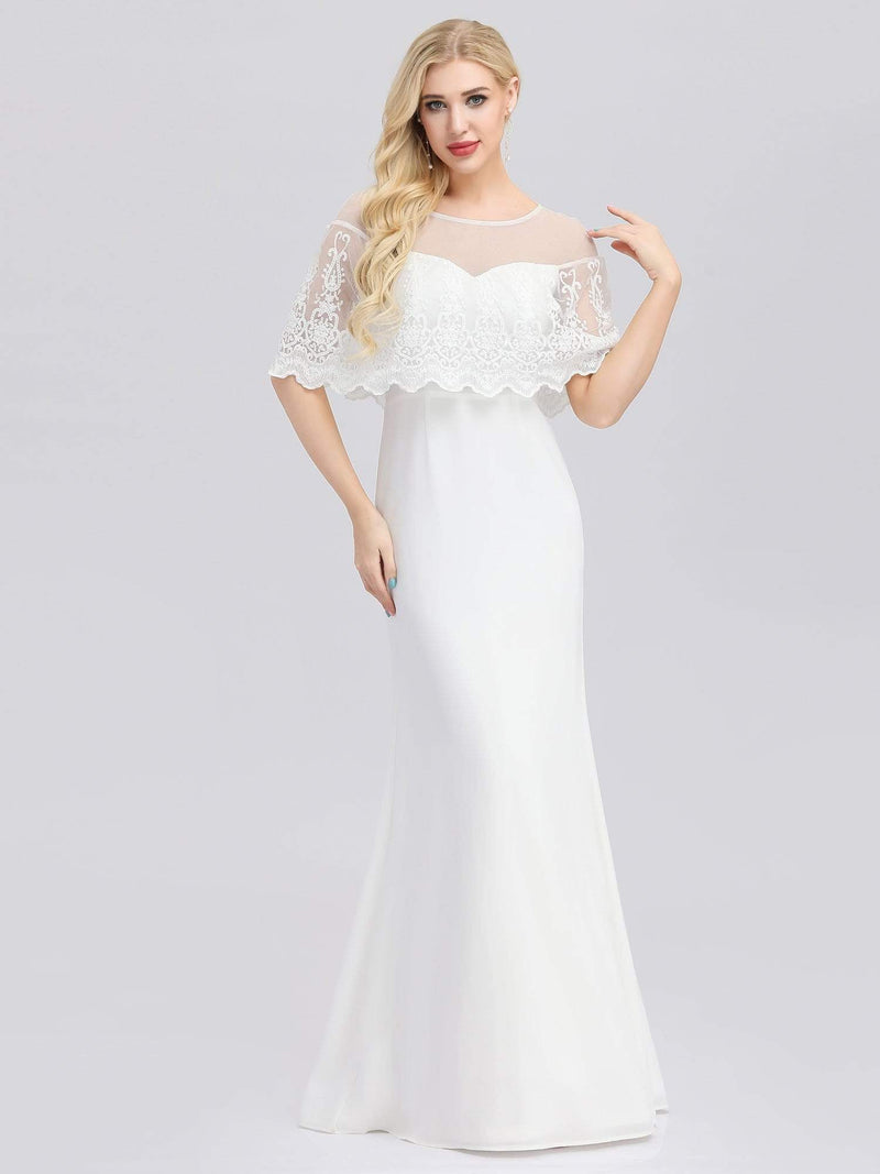 Women'S Sweetheart Illusion Ruffle Sleeves Floor-Length Wedding Dress-White 2