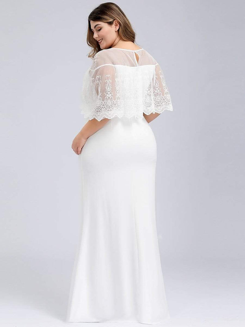 Women'S Sweetheart Illusion Ruffle Sleeves Floor-Length Wedding Dress-White 7