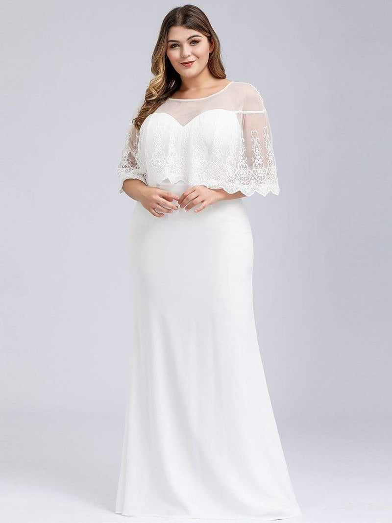 Women'S Sweetheart Illusion Ruffle Sleeves Floor-Length Wedding Dress-White 6
