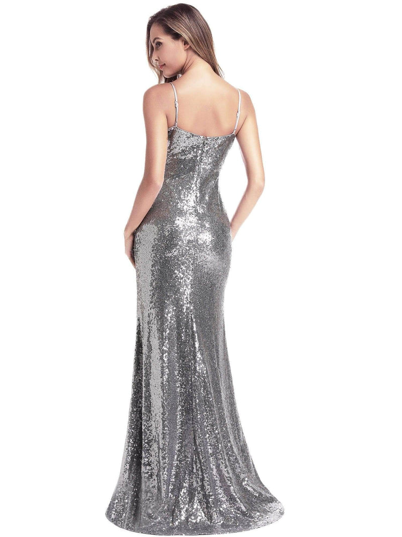 Backless Sequin Dresses With Side Split-Grey 4
