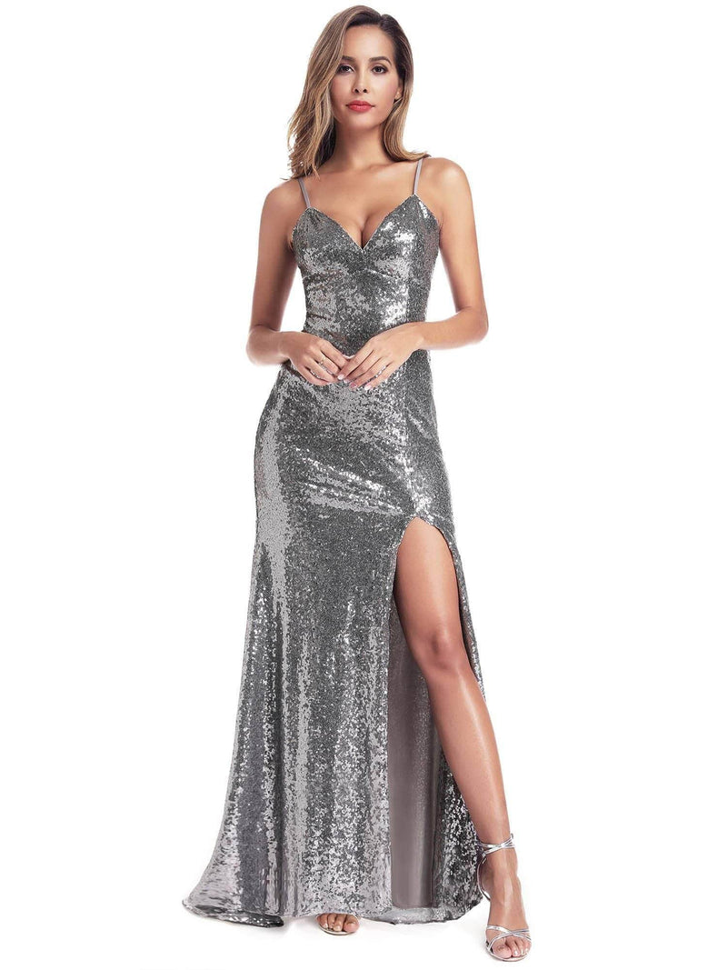Backless Sequin Dresses With Side Split-Grey 2