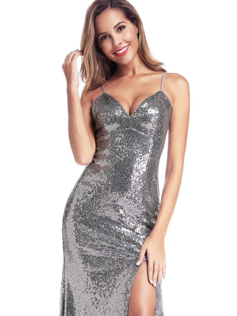 Backless Sequin Dresses With Side Split-Grey 3