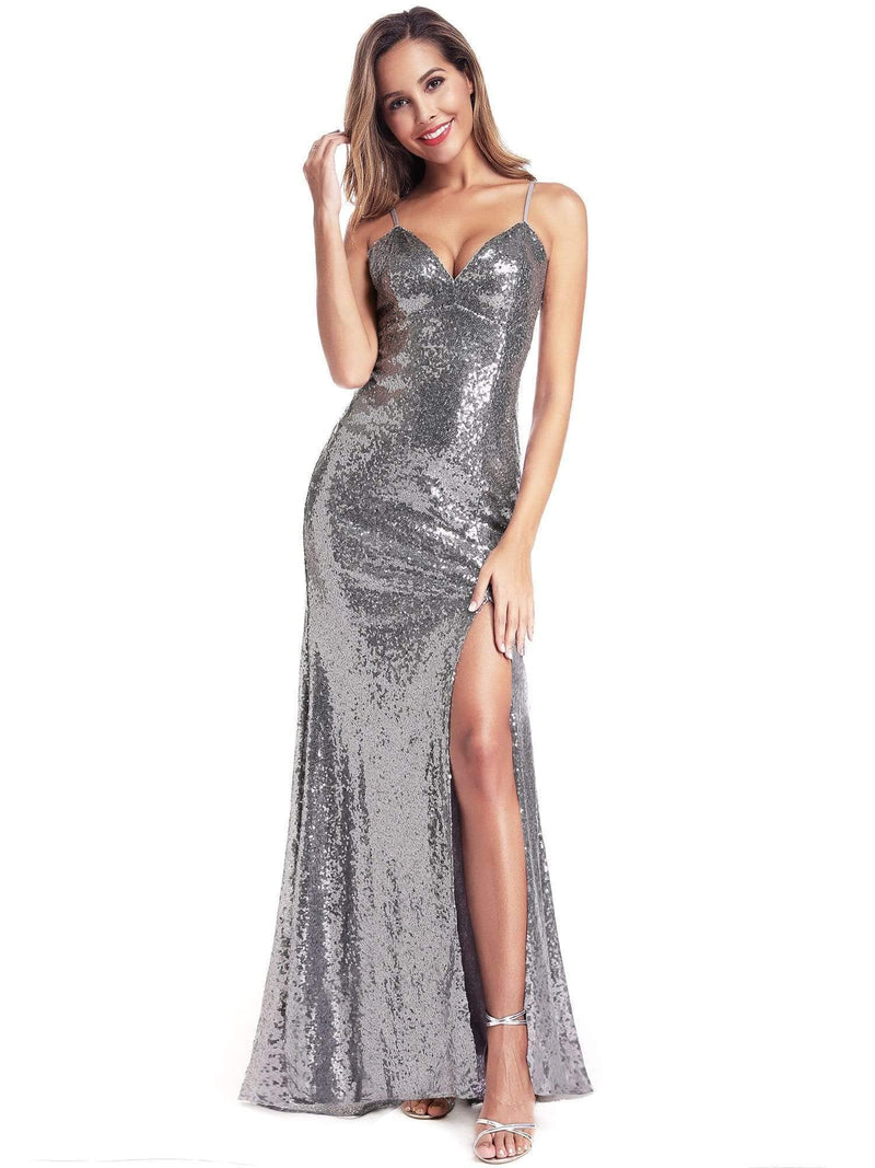 Backless Sequin Dresses With Side Split-Grey 5