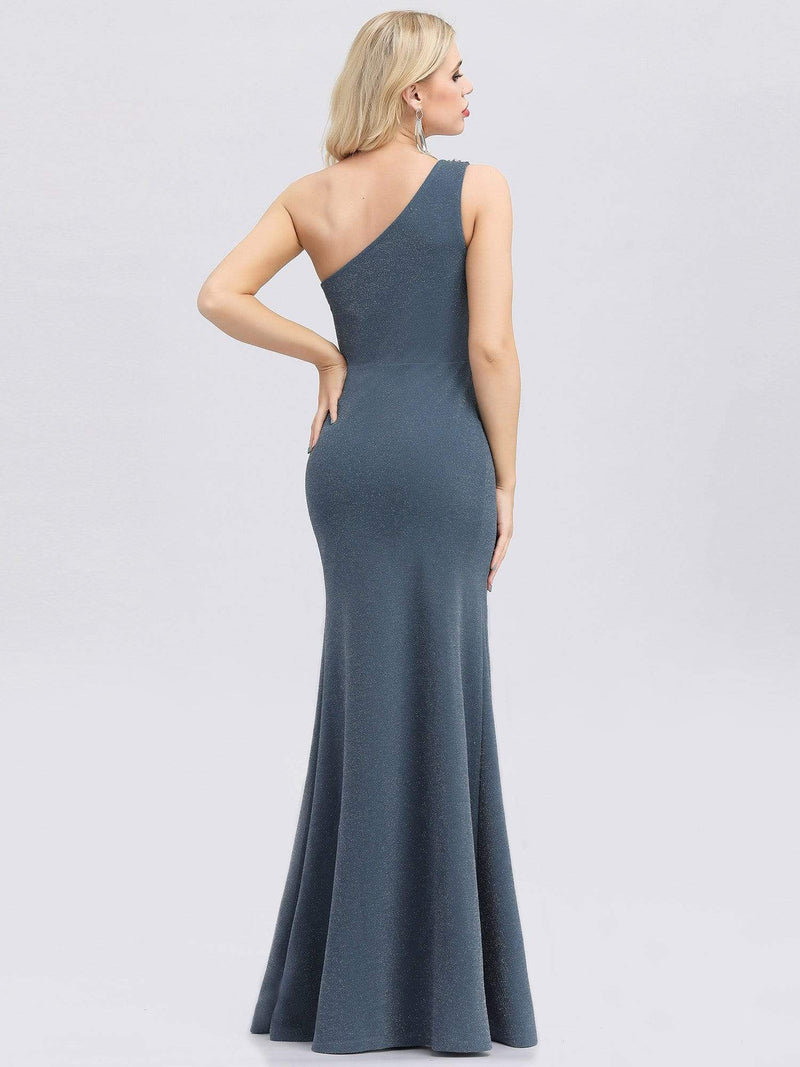 Classic One Shoulder Evening Dress With High Split-Dusty Navy 2