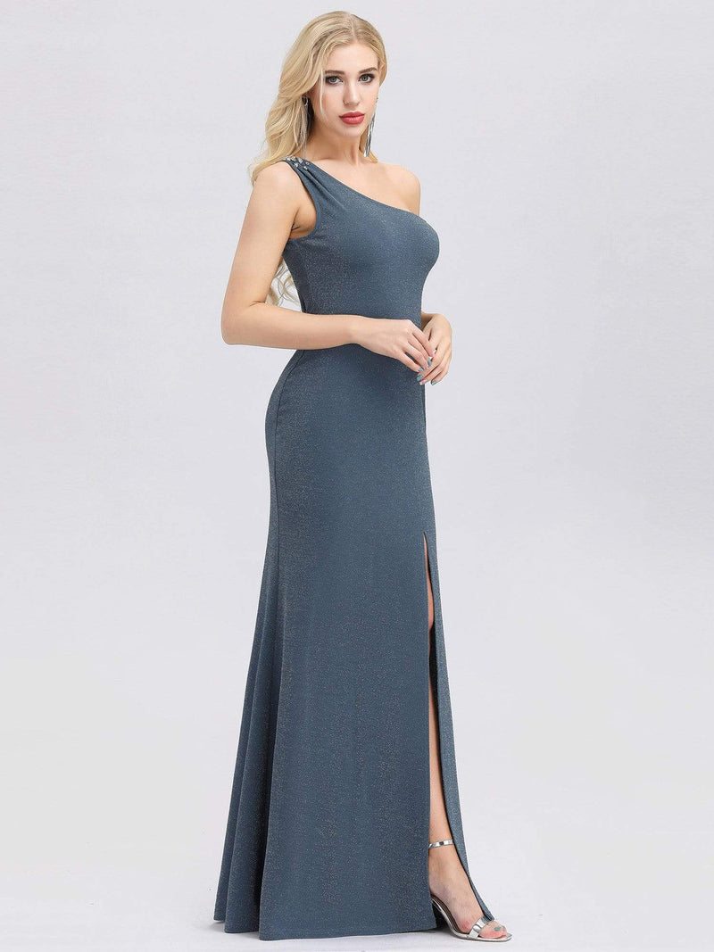 Classic One Shoulder Evening Dress With High Split-Dusty Navy 3
