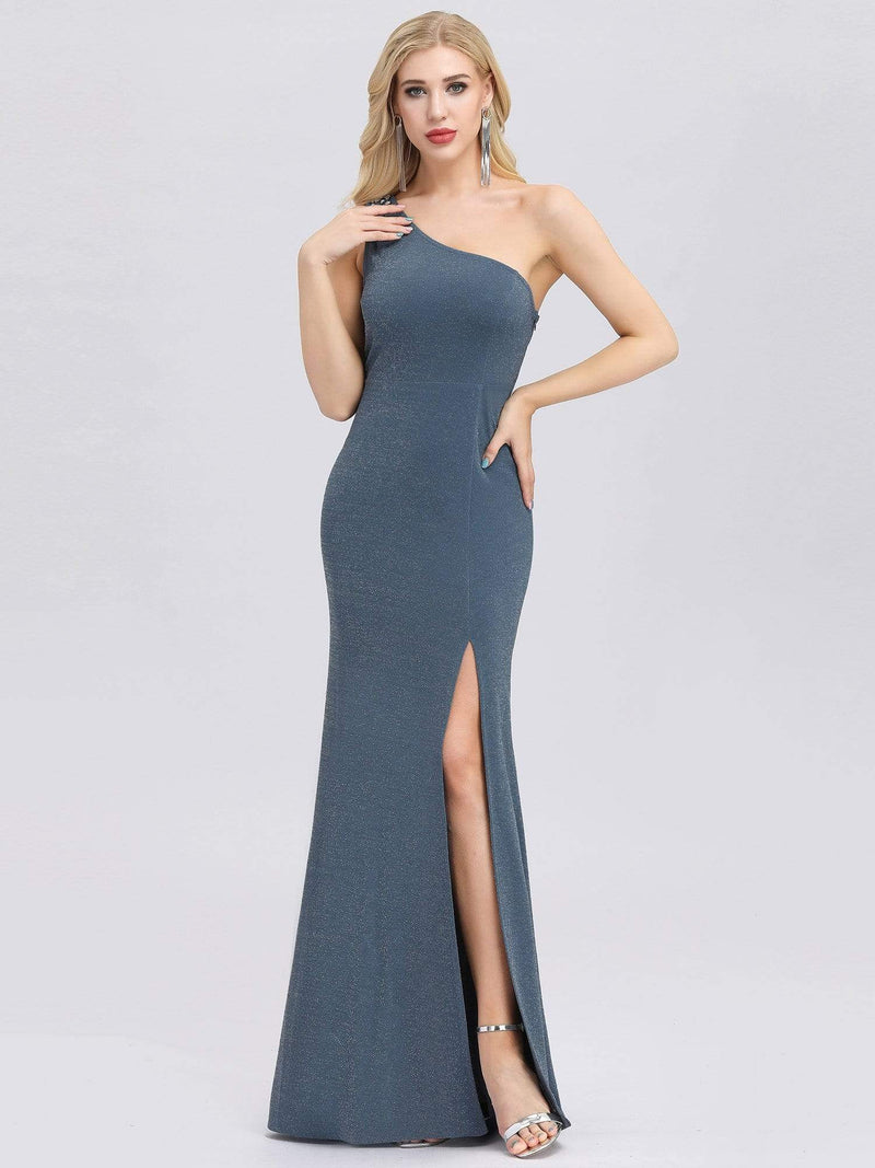 Classic One Shoulder Evening Dress With High Split-Dusty Navy 4