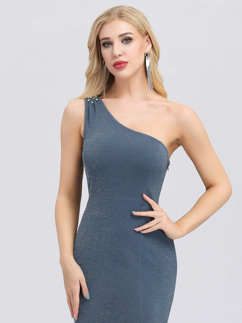 Classic One Shoulder Evening Dress With High Split-Dusty Navy 5