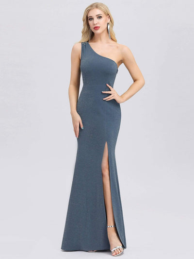 Classic One Shoulder Evening Dress with High Split