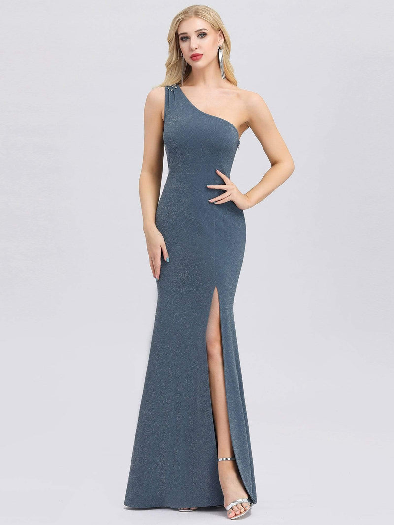 Classic One Shoulder Evening Dress With High Split-Dusty Navy 1