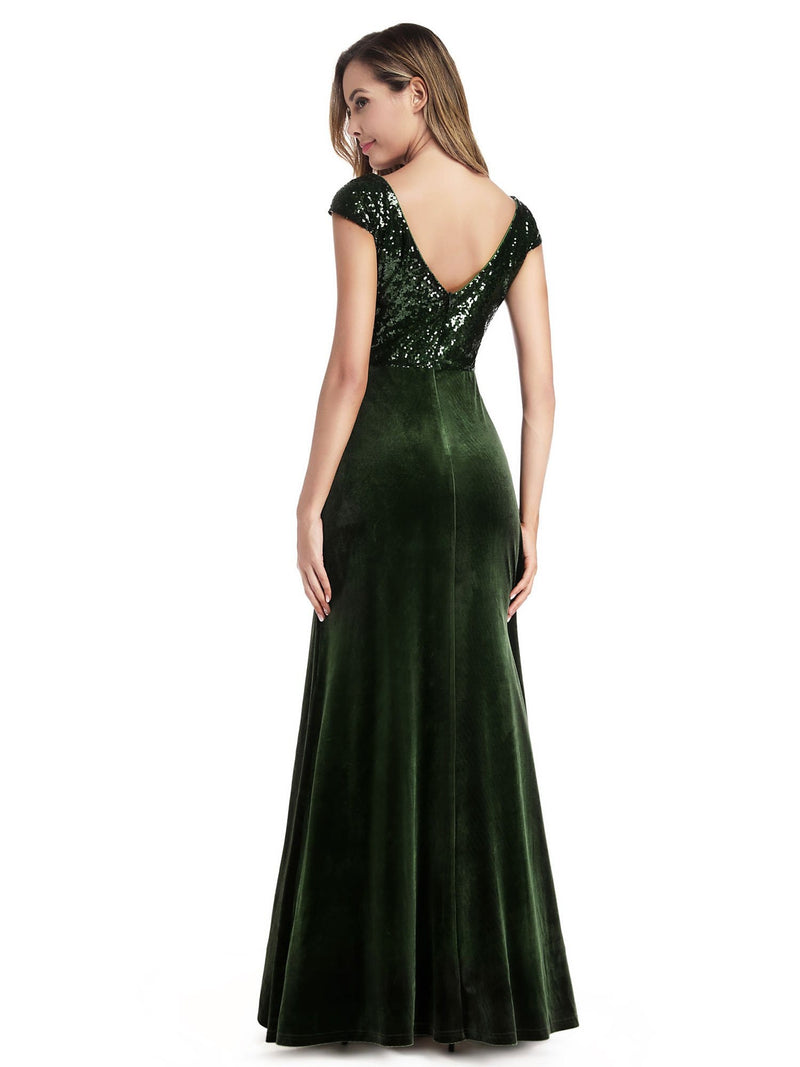 Simple V Neck Sequin Party Dress-Dark Green 2