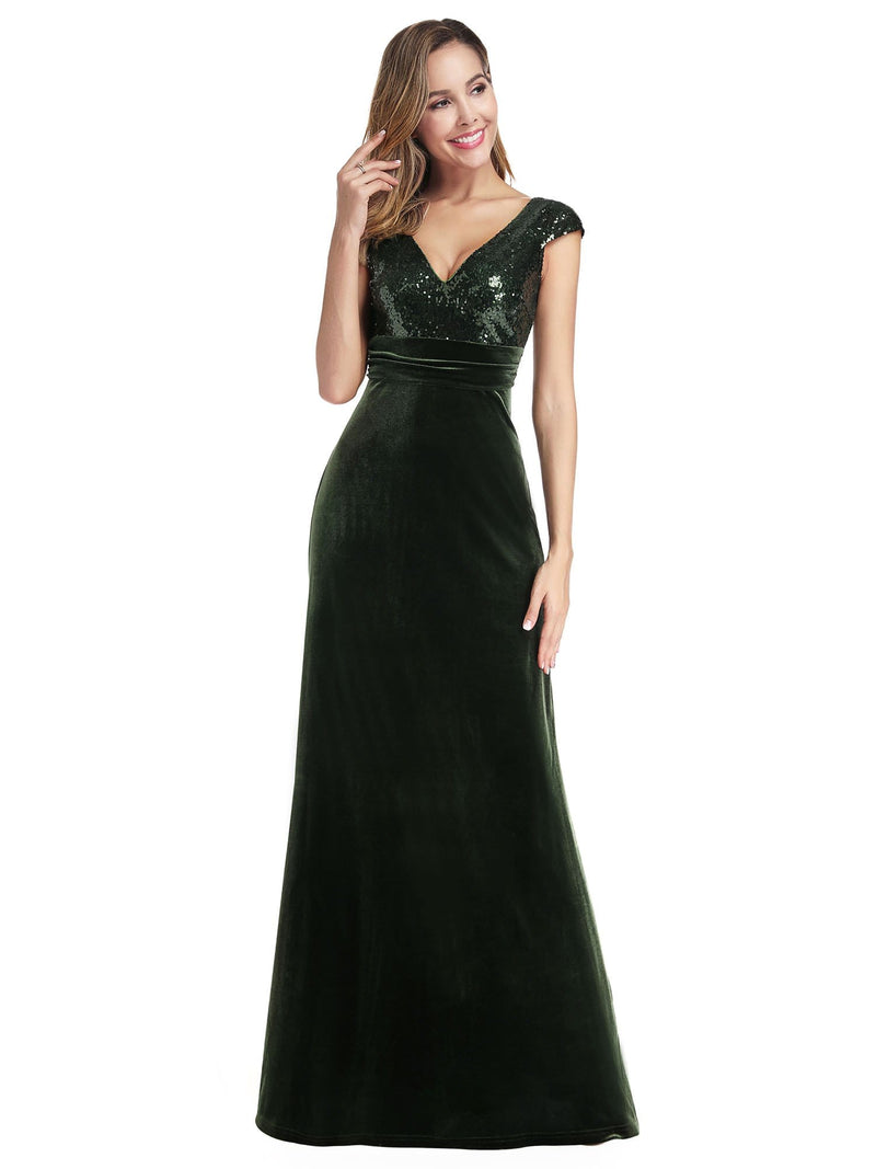 Simple V Neck Sequin Party Dress-Dark Green 4