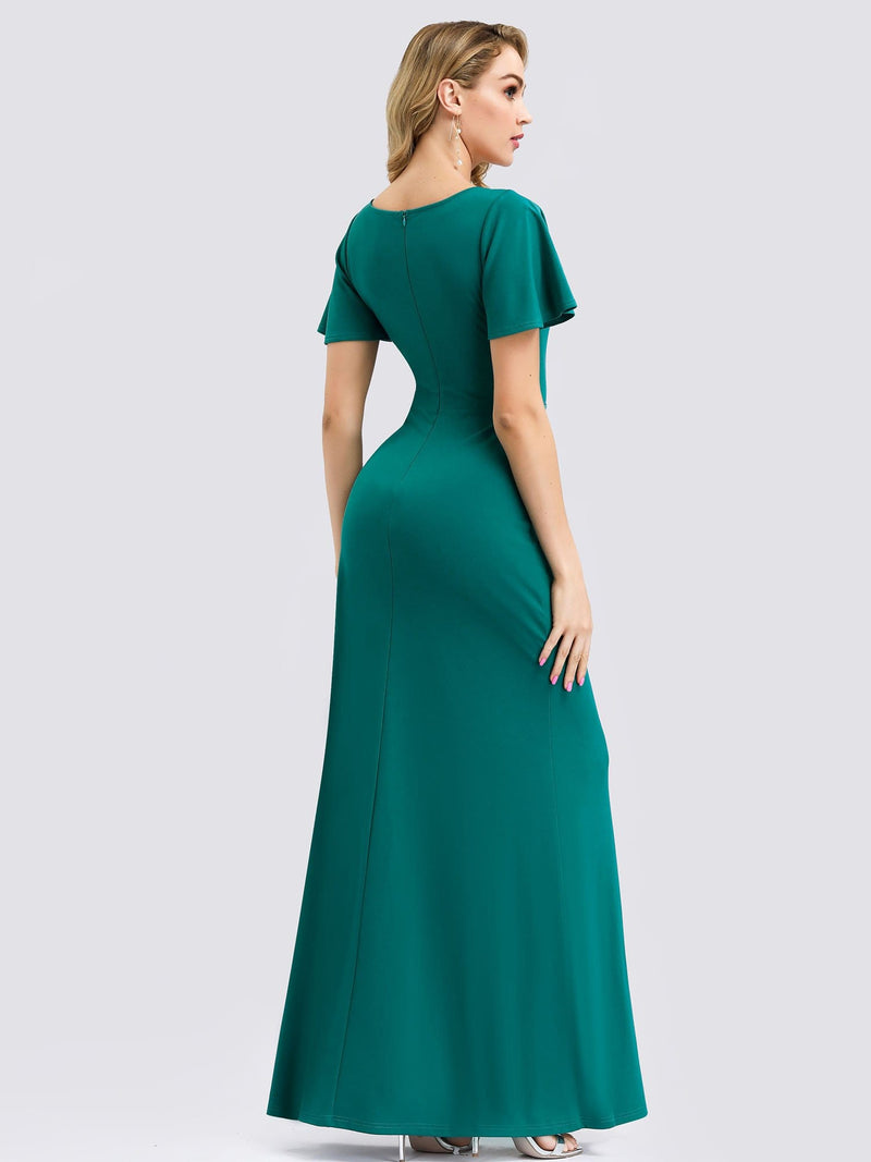 V Neck Evening Dress With Ruffles Sleeve And High Slit-Turquoise 2