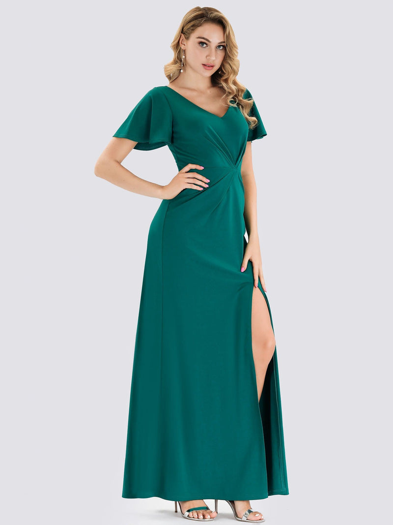 V Neck Evening Dress With Ruffles Sleeve And High Slit-Turquoise 3