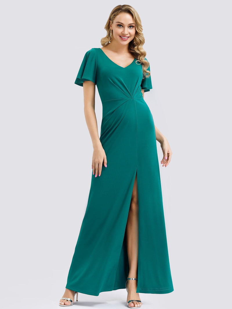 V Neck Evening Dress With Ruffles Sleeve And High Slit-Turquoise 4