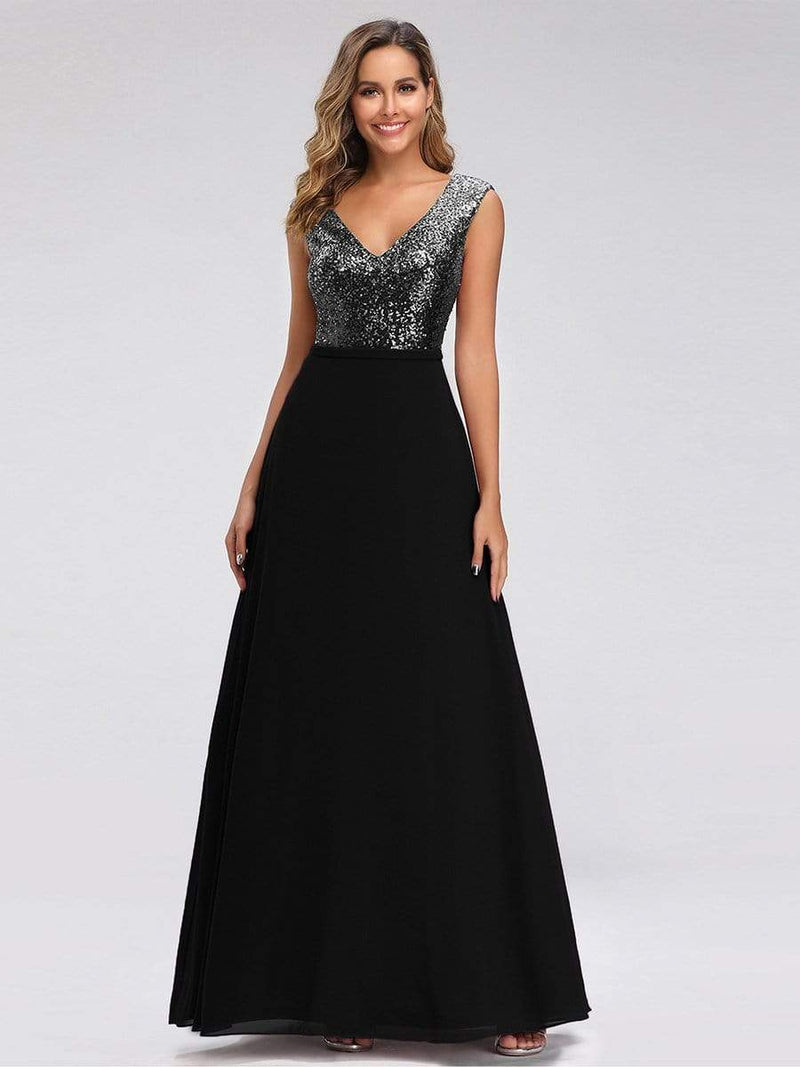 V Neck Sleeveless Floor Length Sequin Party Dress-Black 1