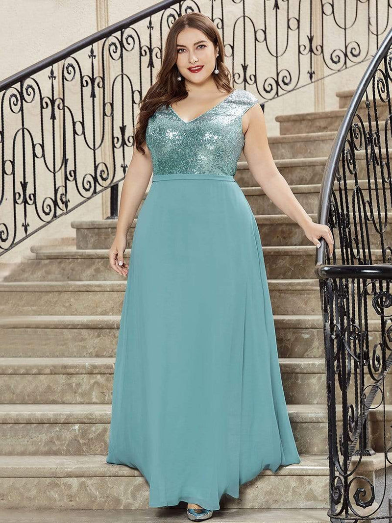 Plus Size V Neck Sleeveless Floor Length Sequin Party Dress-Dusty Blue 4