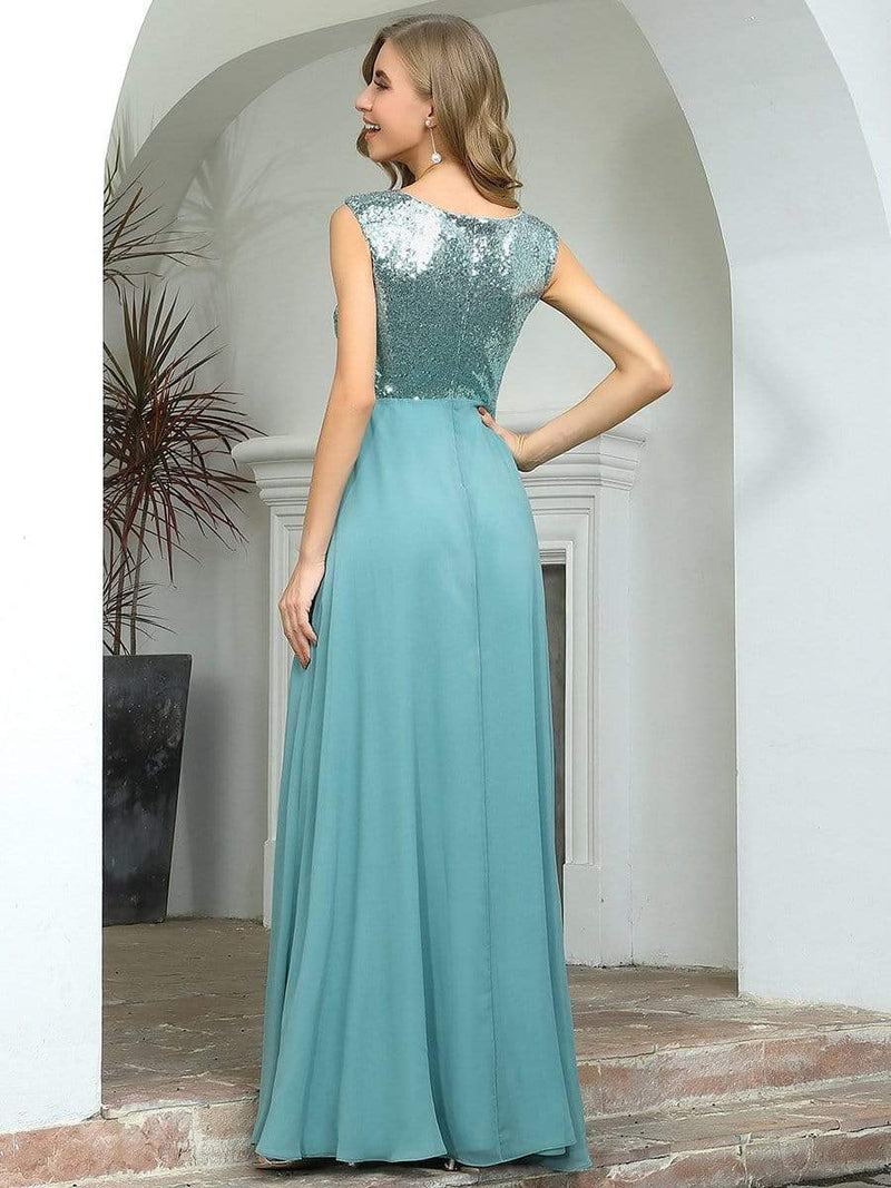 V Neck Sleeveless Floor Length Sequin Party Dress-Dusty Blue 2