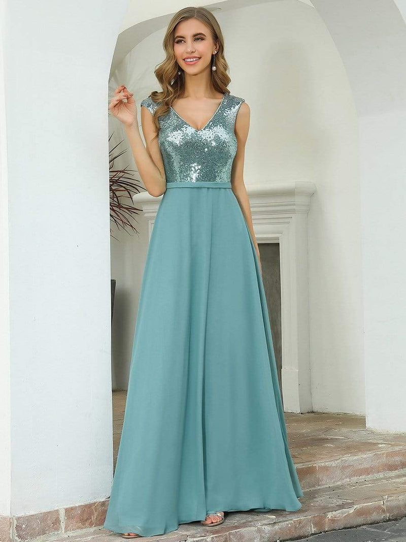 V Neck Sleeveless Floor Length Sequin Party Dress-Dusty Blue 1