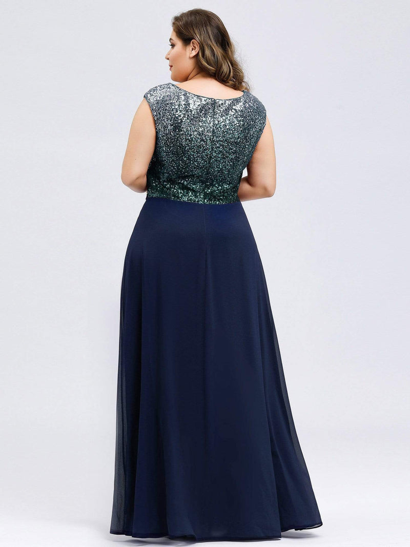 Plus Size V Neck Sleeveless Floor Length Sequin Party Dress-Navy Blue 2