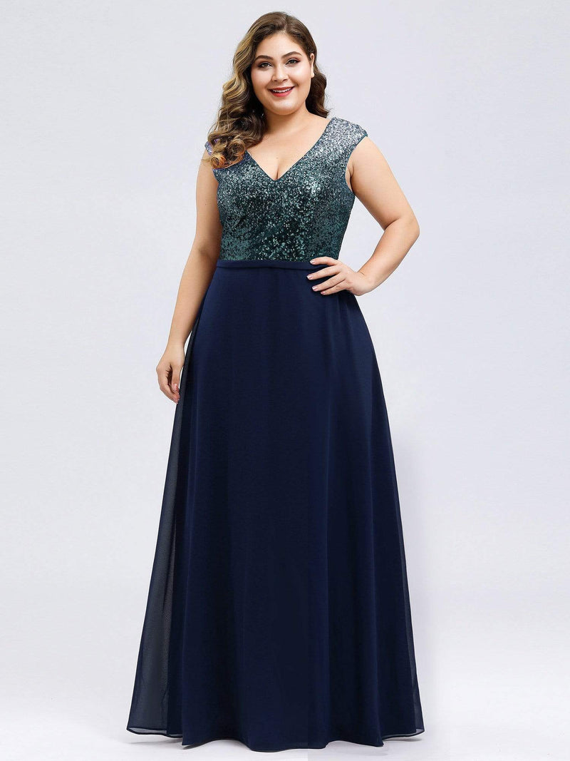 Plus Size V Neck Sleeveless Floor Length Sequin Party Dress-Navy Blue 3