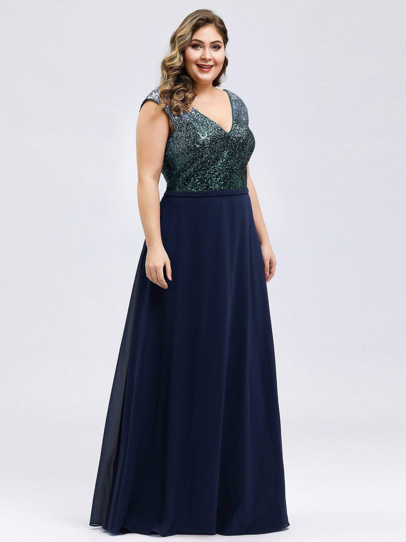 Plus Size V Neck Sleeveless Floor Length Sequin Party Dress-Navy Blue 4