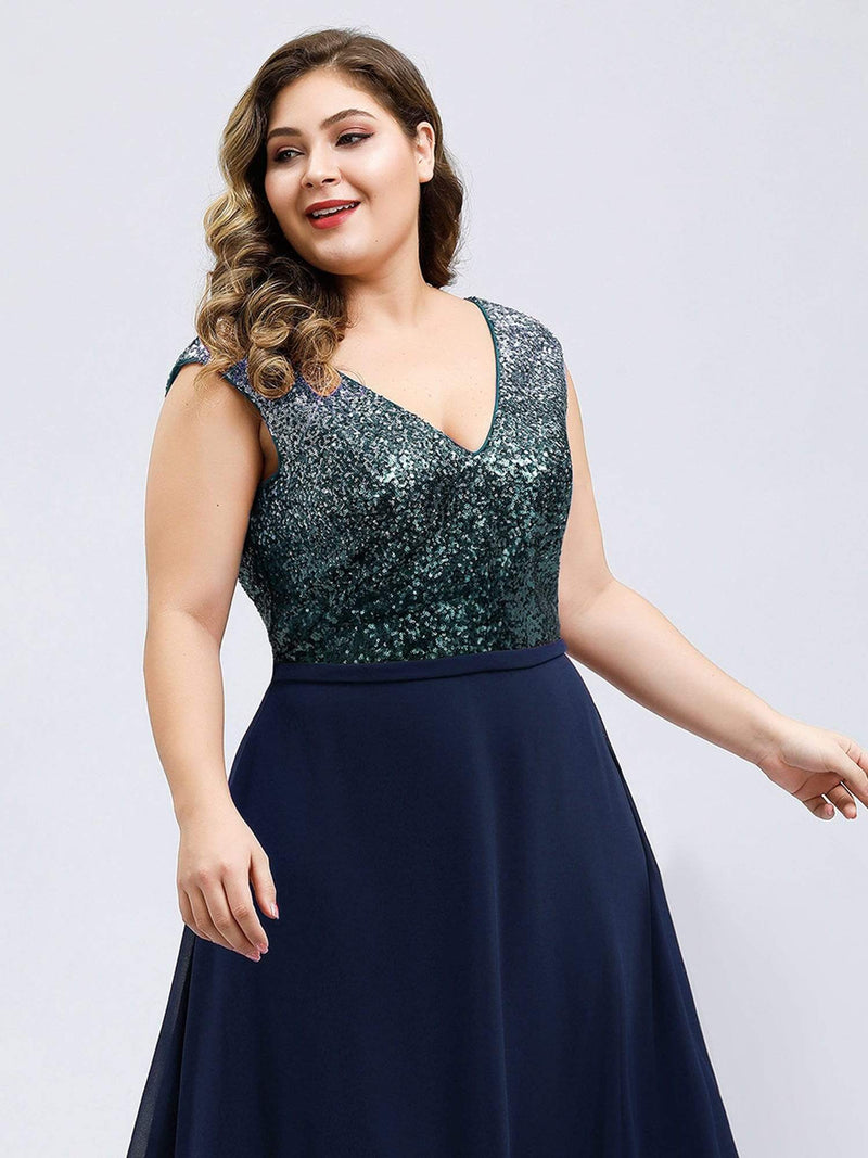 Plus Size V Neck Sleeveless Floor Length Sequin Party Dress-Navy Blue 5