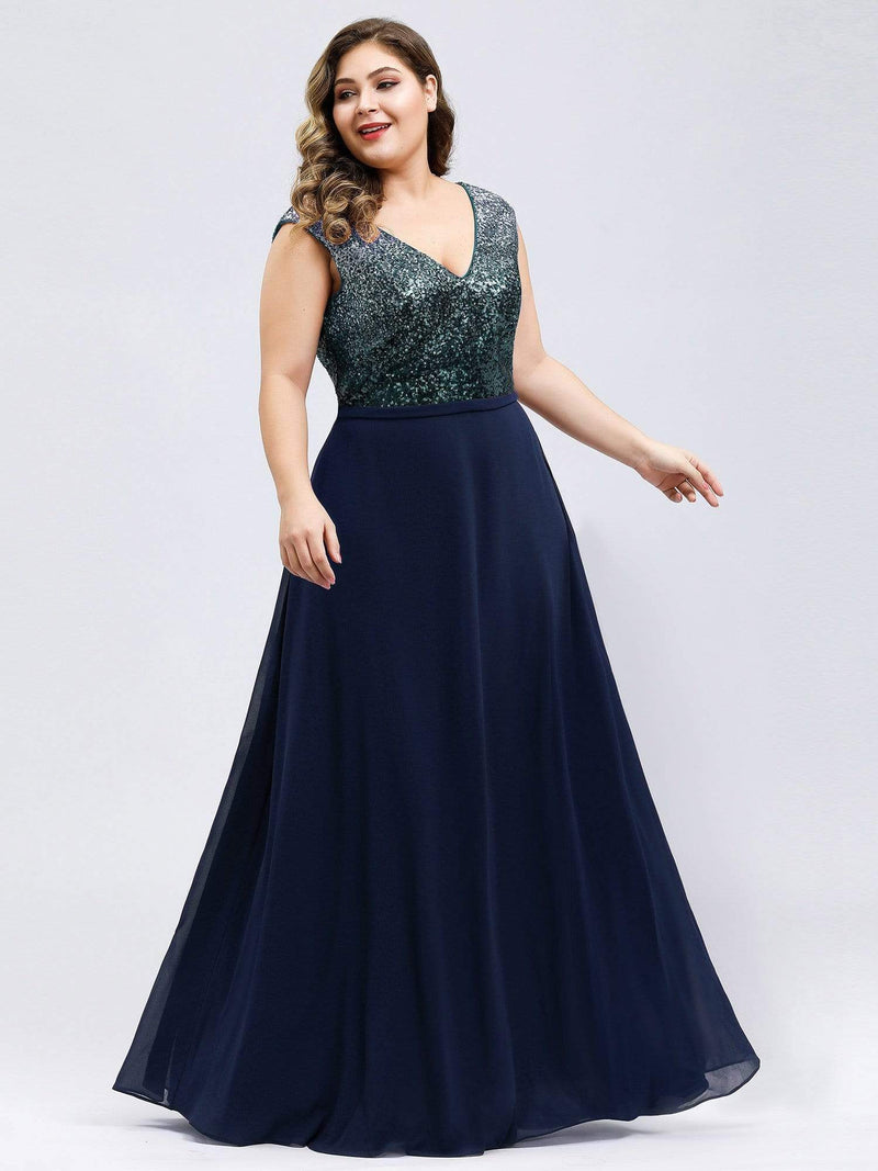 Plus Size V Neck Sleeveless Floor Length Sequin Party Dress-Navy Blue 1