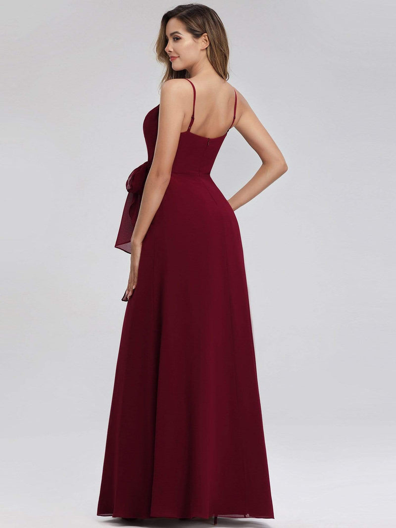 Women'S V-Neck Spaghetti Straps Floor-Length Bridesmaid Dress-Burgundy 2