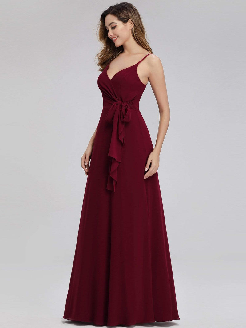 Women'S V-Neck Spaghetti Straps Floor-Length Bridesmaid Dress-Burgundy 3