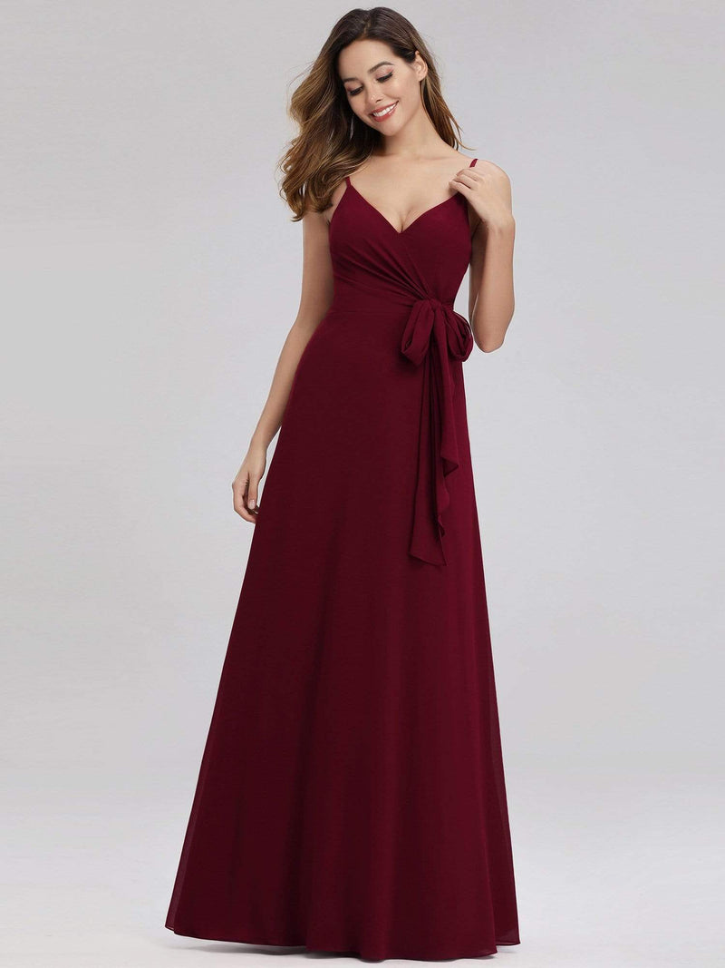 Women'S V-Neck Spaghetti Straps Floor-Length Bridesmaid Dress-Burgundy 4