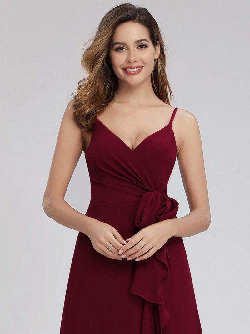 Women'S V-Neck Spaghetti Straps Floor-Length Bridesmaid Dress-Burgundy 5