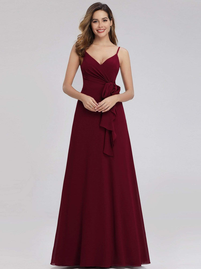 Women'S V-Neck Spaghetti Straps Floor-Length Bridesmaid Dress-Burgundy 1